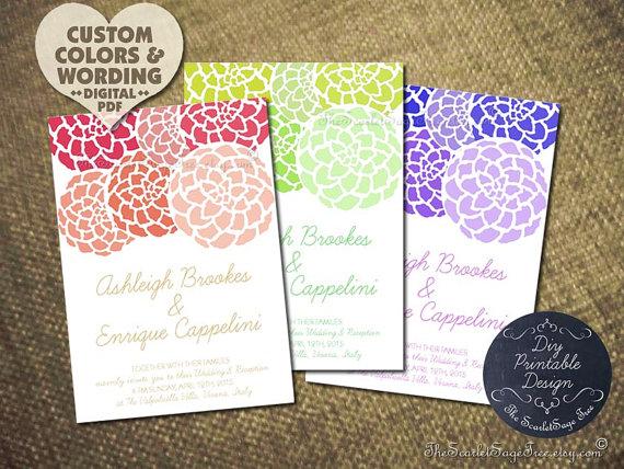 Printable Baby Shower Invitation Design Pdf PEONY DIY Floral Wedding