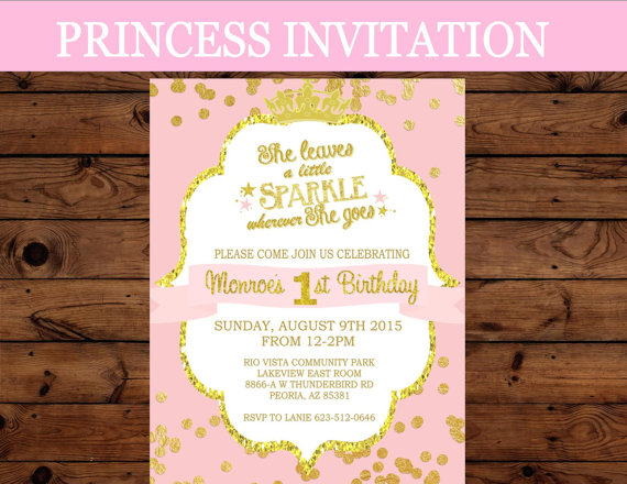 Princess Invitation - First Birthday INVITATION - Crown Party -Girls - printable girl birthday invitation cards