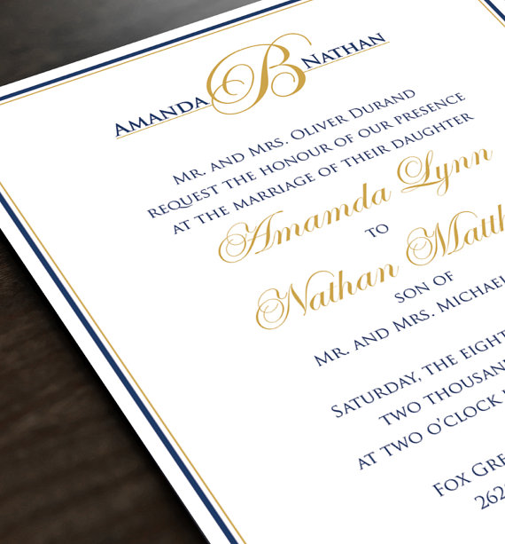 Monogram Wedding Invitation - Personalized Wedding Invite And