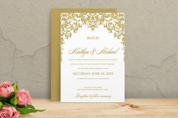 Printable Wedding Invitation Template - DOWNLOAD Instantly