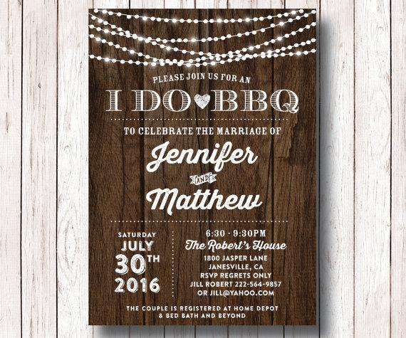 I Do BBQ Wedding Reception Invitation, I Do BBQ Couples Shower