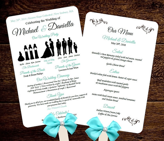 DIY Silhouette Wedding Fan Program W MENU Printable Editable
