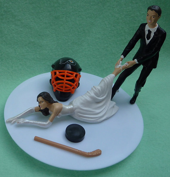 Wedding Cake Topper Philadelphia Flyers G Hockey Themed W/ Bridal