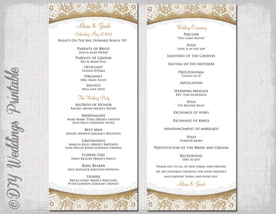 Rustic Wedding Program Template \