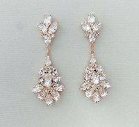 Wedding Earrings - Chandelier Bridal Earrings, ROSE GOLD ...