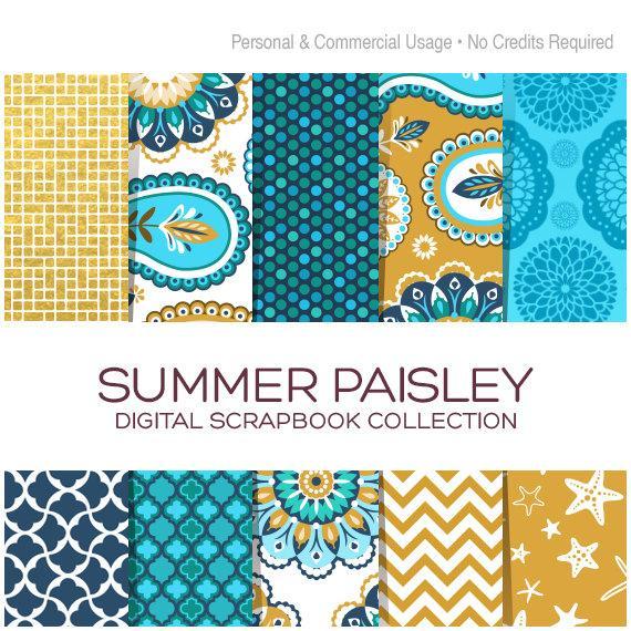 Paisley Digital Paper Blue Gold Printable Wedding Invitation Summer