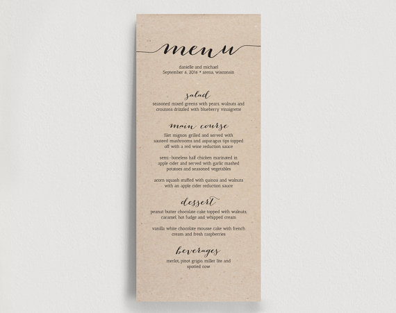 Printable Wedding Menu Template - Dinner Menu Printable - Rustic DIY - dinner menu templates free