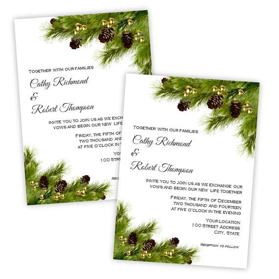 Pine Cones Christmas Wedding Or Holiday Party Invitation - DIY