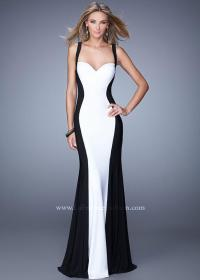 La Femme 21337 Long Black White Two Tone Open Back Prom