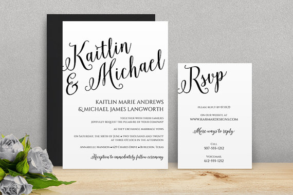 You Can Change The Color! DiY Wedding Invitation Template - Download