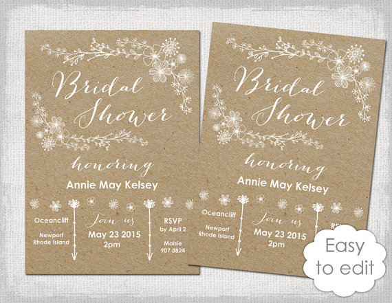 Bridal Shower Invitation Template Rustic Printable Templates DIY
