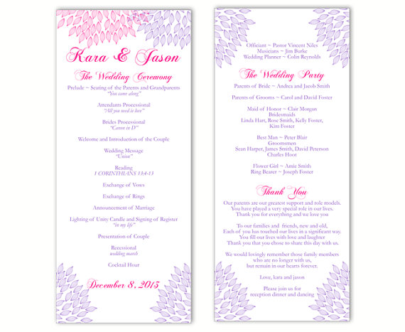 Wedding Program Template DIY Editable Text Word File Download