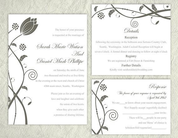 DIY Wedding Invitation Template Set Editable Text Word File Download