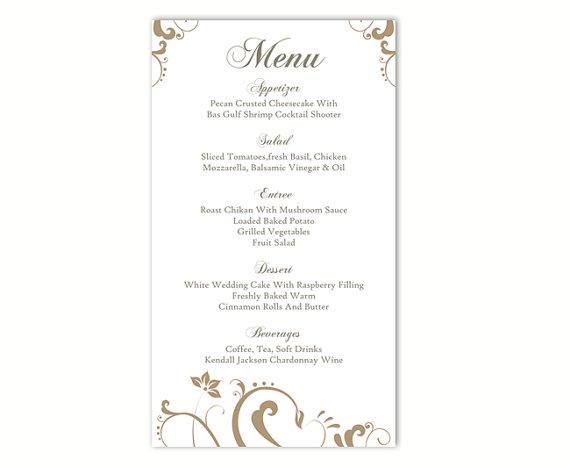Wedding Menu Template DIY Menu Card Template Editable Text Word File