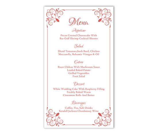 menu card templates free download trattorialeondoro - event menu template