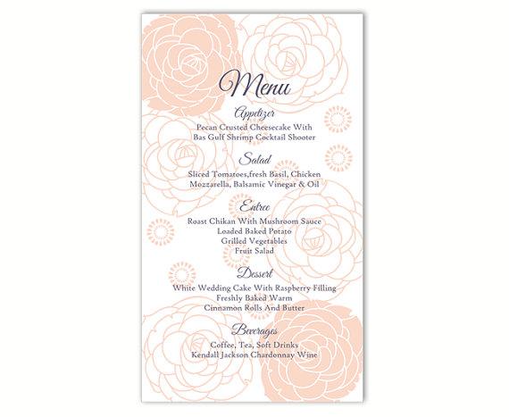Wedding Menu Template DIY Menu Card Template Editable Word File