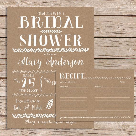 Rustic Bridal Shower Invitation With Recipe Card / Vintage Bridal