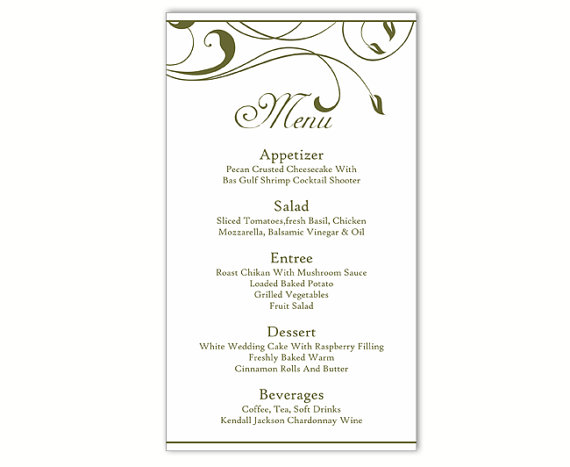 Wedding Menu Cards Templates For Free - FREE DOWNLOAD