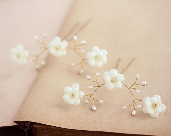 Ivory Flower Hair Pins, Pearl Hair Pin, Ivory Wedding Hair