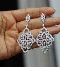 Silver Crystal Bridal Earring Bridal Jewelry Chandelier ...