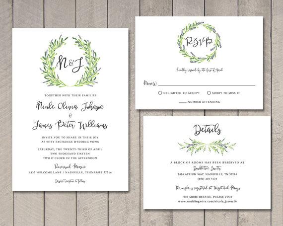 Laurel Wedding Invitation, RSVP, Details Card (Printable) By Vintage
