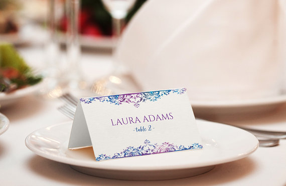 Wedding Place Card Template - DOWNLOAD Instantly - EDITABLE TEXT