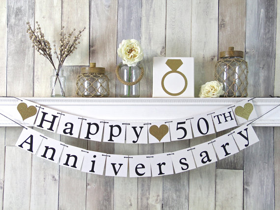 50th Anniversary Banner, Happy Anniversary Banner, Anniversary Party