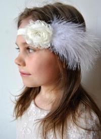 Ivory Shabby Chic Feather Headband, Flower Girl Headband ...