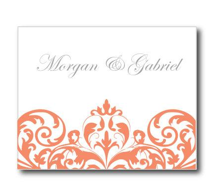 Wedding Thank You Card Template - INSTANT DOWNLOAD - Damask (Coral