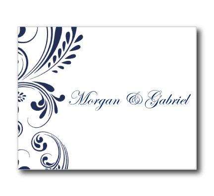 Wedding Thank You Card Template - Navy Wedding - EDITABLE TEXT