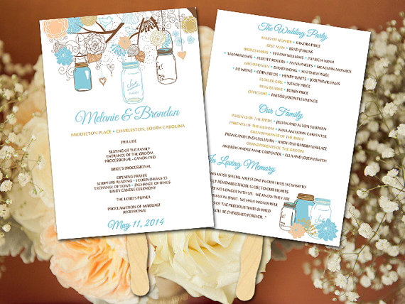 DIY Wedding Fan Program Template - Mason Jar Wedding Fan - Peach