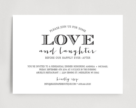 Rehearsal Dinner Invitation, Wedding Rehearsal Dinner Invitation - dinner invitation template
