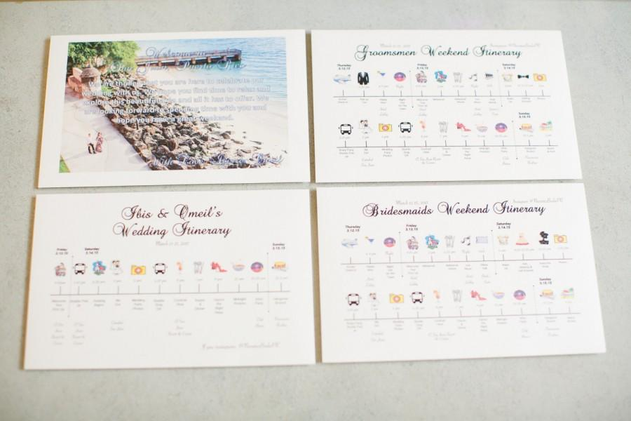 Wedding Itinerary, Wedding Welcome Cards, Bridesmaid/Groomsmen