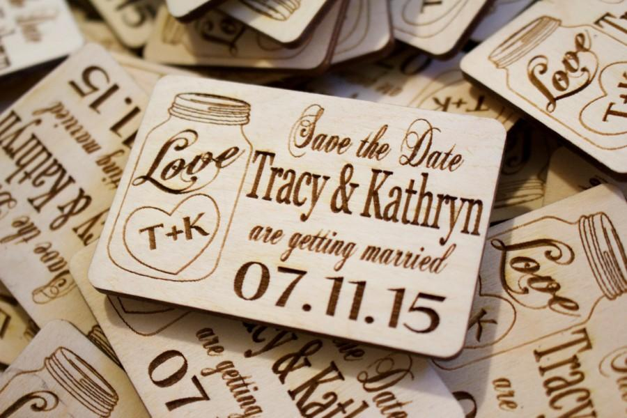 FREE SHIPPING! 75 Mason Jar Wooden Save The Date Magnets Laser - free wedding save the dates