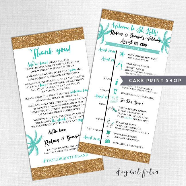 Printable Wedding Itinerary And Welcome Bag Note, Destination