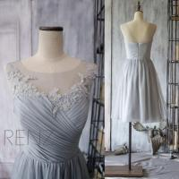 2015 Grey Bridesmaid Dress, Chiffon Cocktail Dress, A Line ...