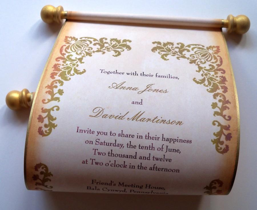 Rustic Wedding Invitation, Wedding Invitations, Scroll Invitation