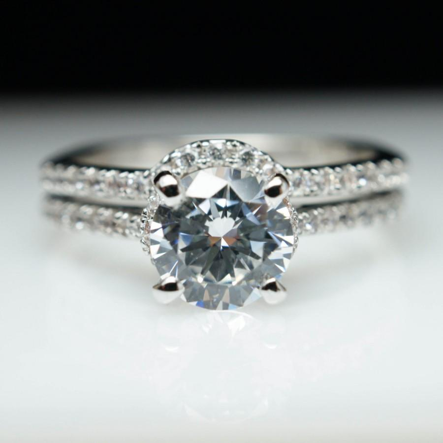 solitaire round diamond engagement ring matching wedding band petite download - Solitaire Engagement Ring With Diamond Wedding Band