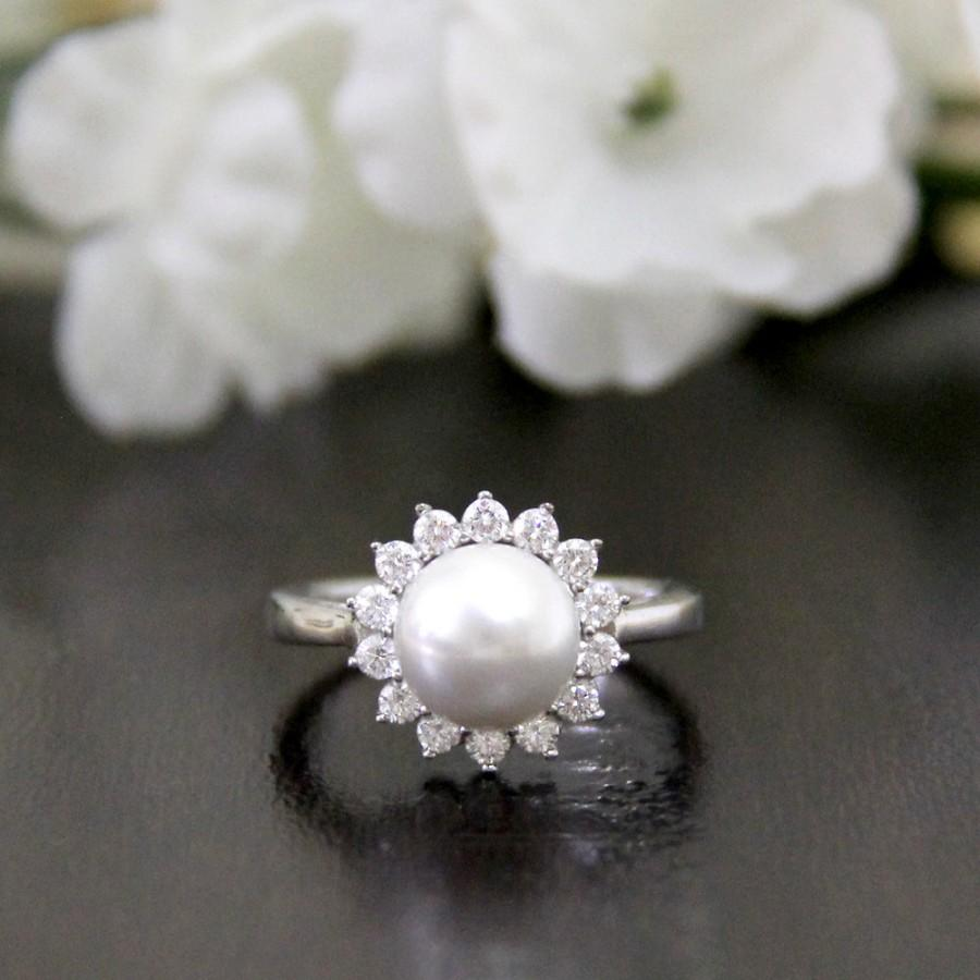 pearl ring pave set diamond stimulants halo engagement ring bridal download - Pearl Wedding Ring Sets