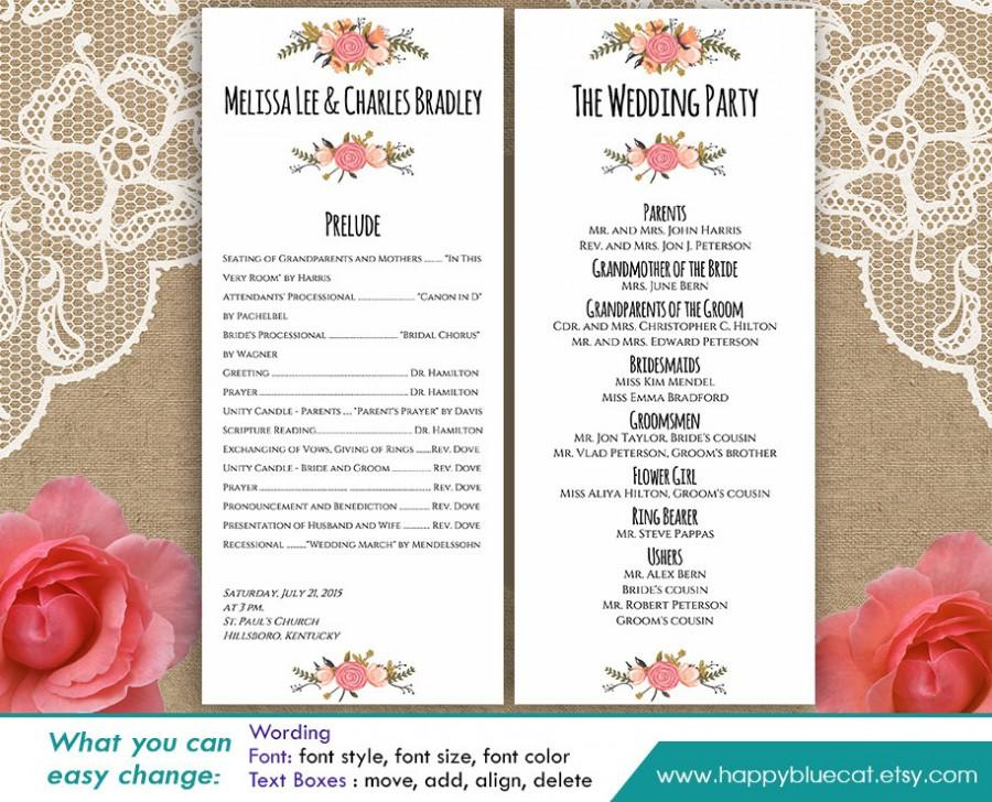 DiY Printable Program Wedding Template - Instant Download - EDITABLE