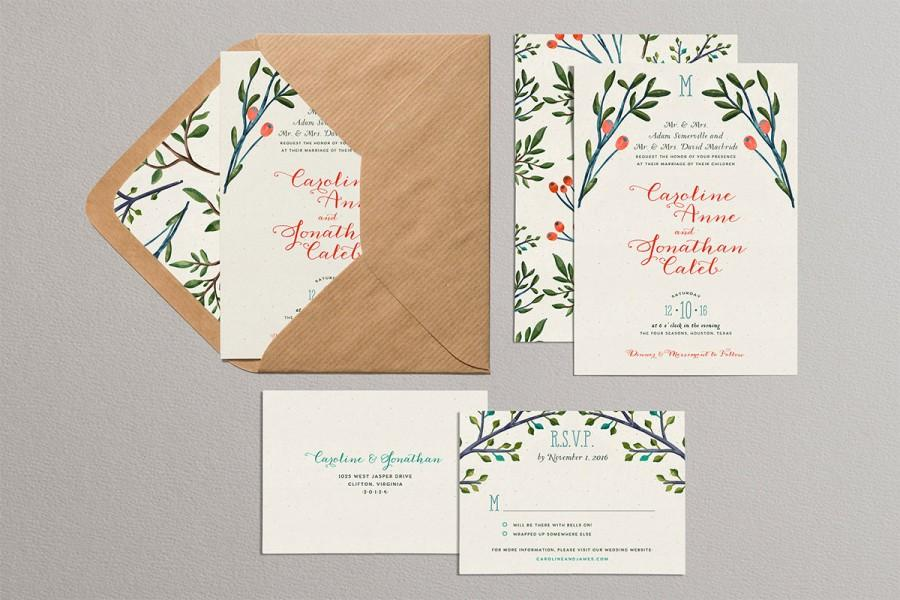 Christmas Wedding Invitations, Pine Branches And Holly Wedding