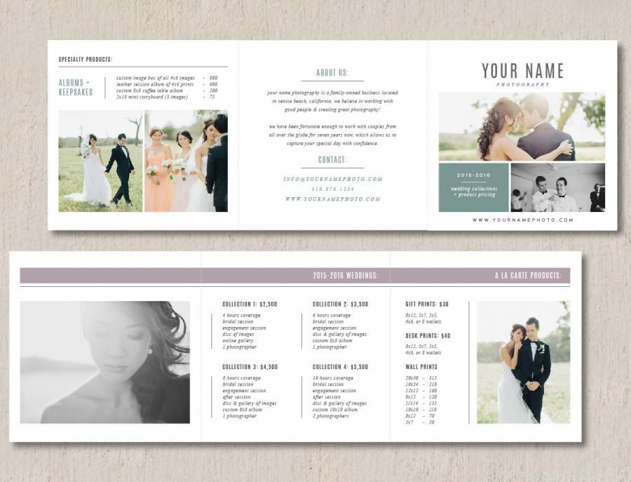 Photography Pricing Template Trifold Card For Photographers