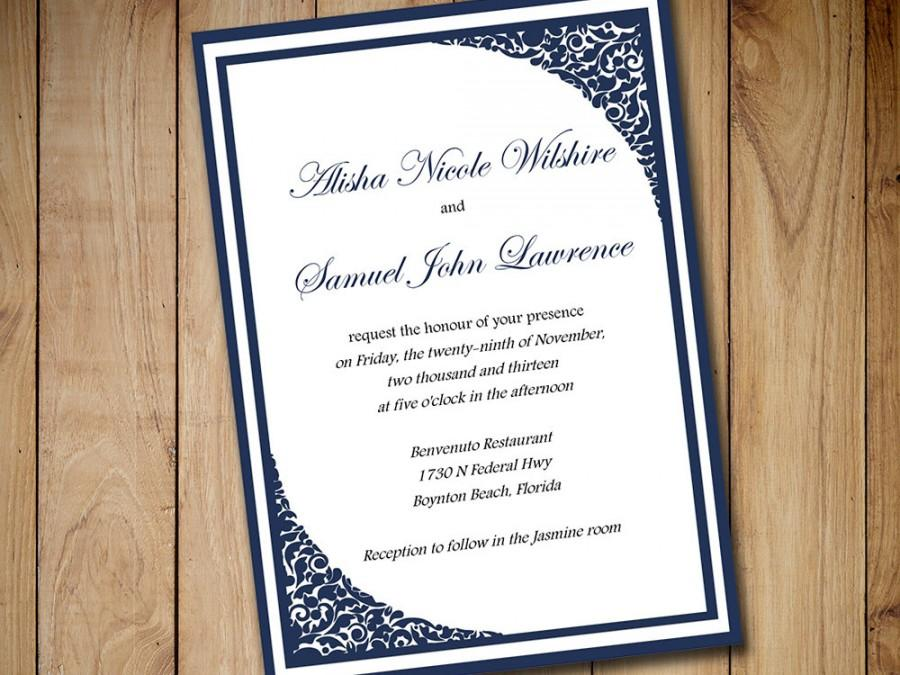 Printable Wedding Invitation Template Download - Dark Navy Blue - Formal Invitation