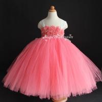 Coral Flower Girl Dress Shabby Flowers Dress Tulle Dress ...