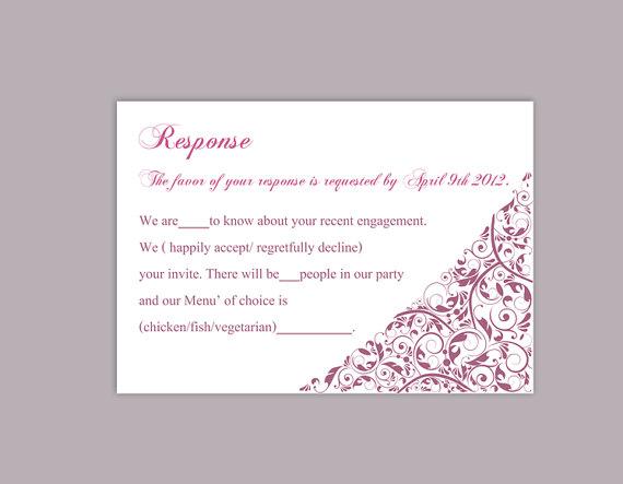 wedding response card template