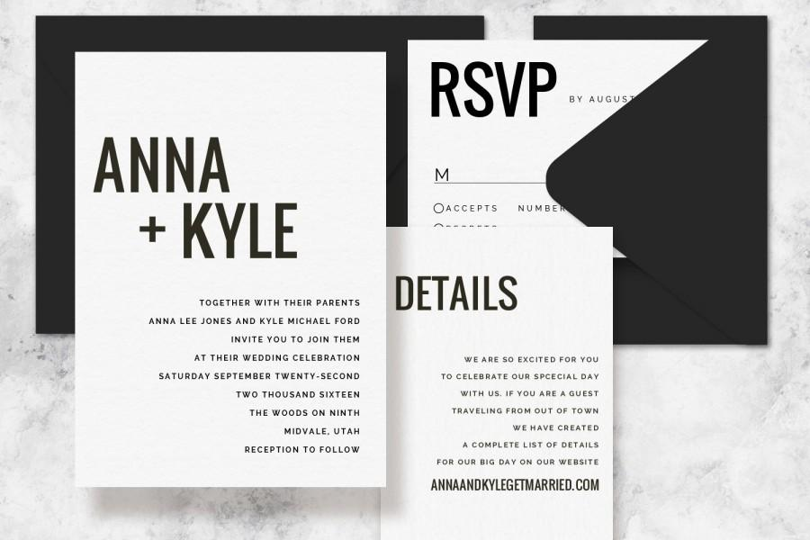 Modern Minimalist Printable Wedding Invitation Set - Wedding - free printable wedding invitation templates for word