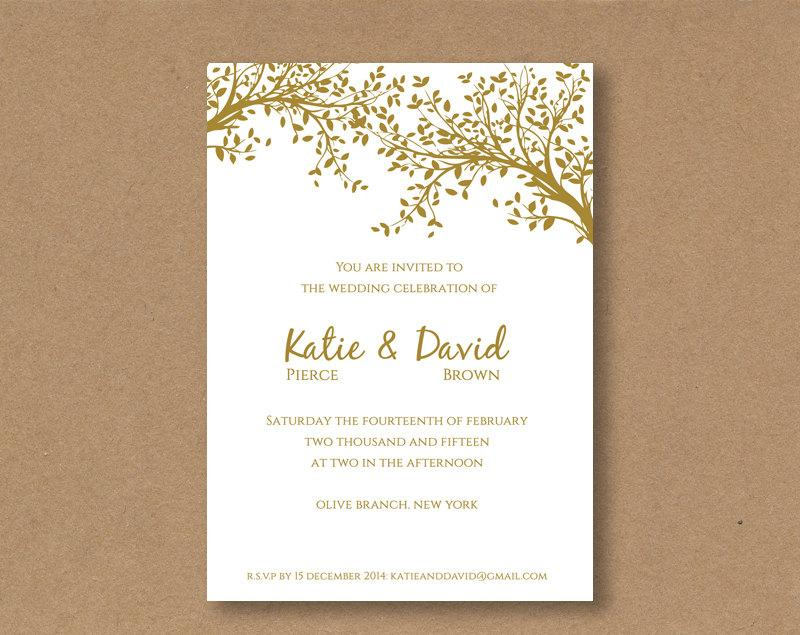 DIY Editable And Printable Wedding Invitation Template Gold Leaves - wedding template