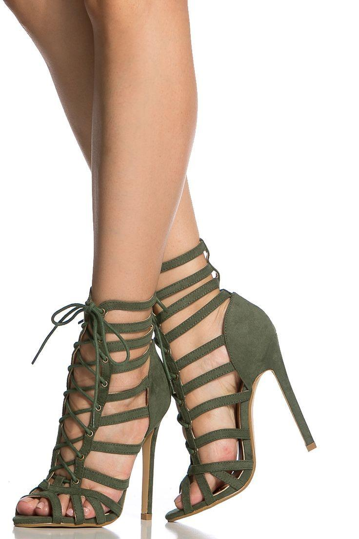 High Heels Hochzeit Olive Faux Suede Cage Lace Up Single Sole Heels Shoes Fashion
