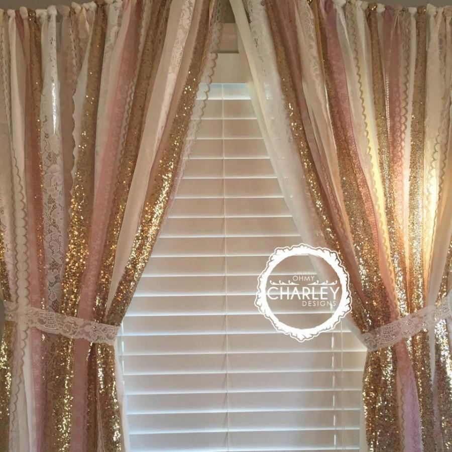Pink Sequin Curtains Pink Gold Sparkle Sequin Garland Curtain With Lace Nursery