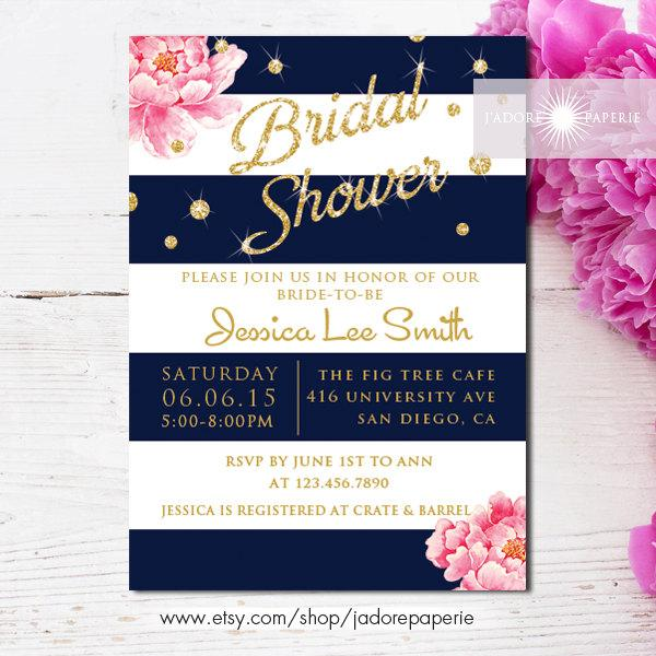 Bridal Shower Invitation, Printable Bridal Shower Invite, Peony